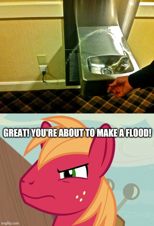 Oh, Jeez! That's gonna have a problem! |  GREAT! YOU'RE ABOUT TO MAKE A FLOOD! | image tagged in jealousy big macintosh mlp,what the heck,you had one job,funny,water,task failed successfully | made w/ Imgflip meme maker