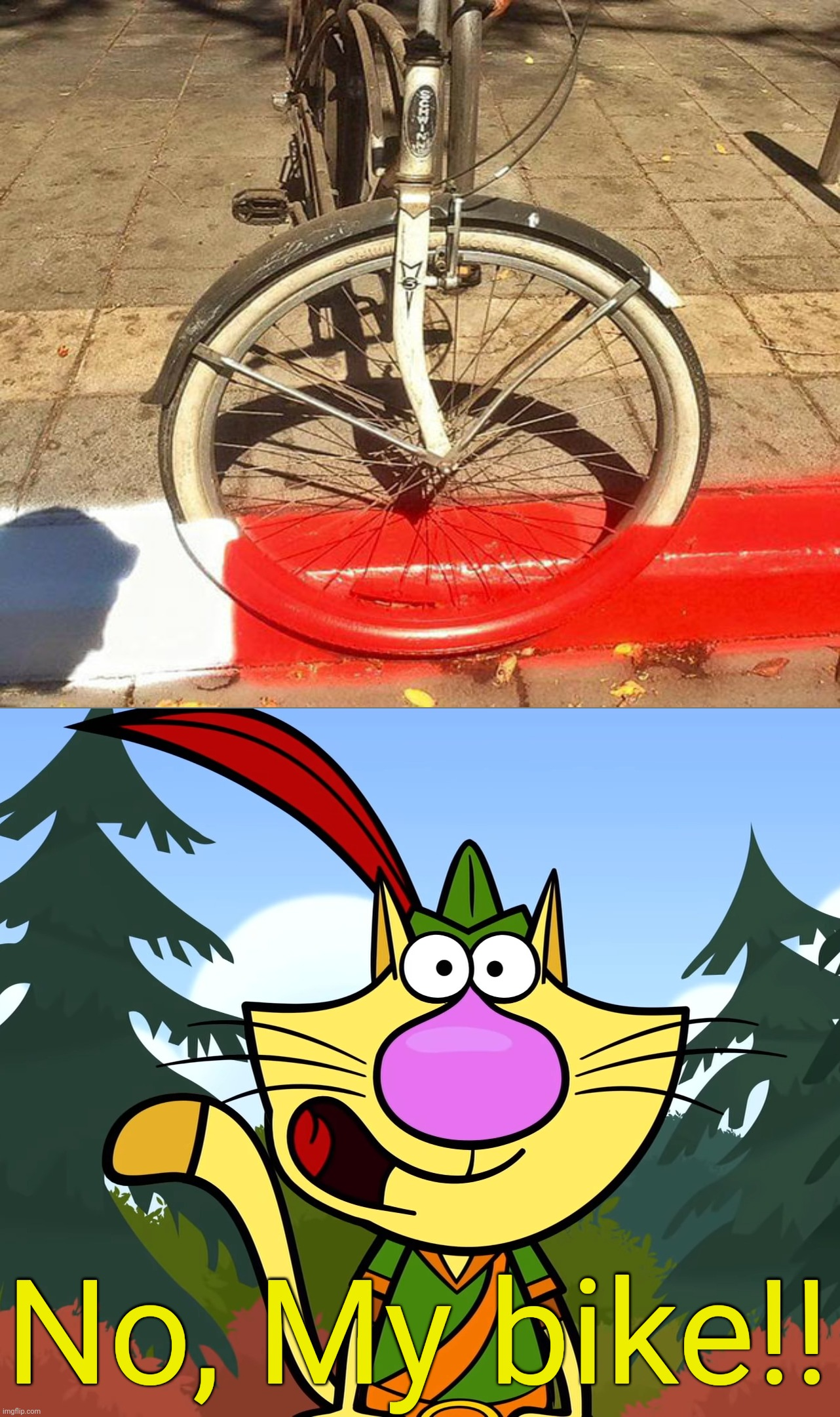 Oh, Who painted that?! |  No, My bike!! | image tagged in no way nature cat,you had one job,fails,task failed successfully,funny,bikes | made w/ Imgflip meme maker