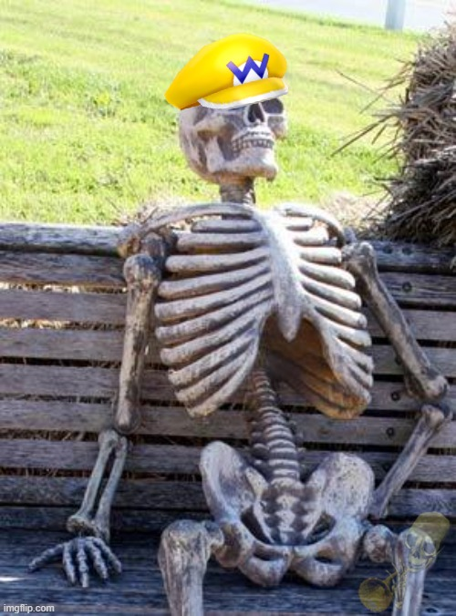 Wario waits for Half Life 3.mp3 | image tagged in memes,waiting skeleton,wario dies | made w/ Imgflip meme maker