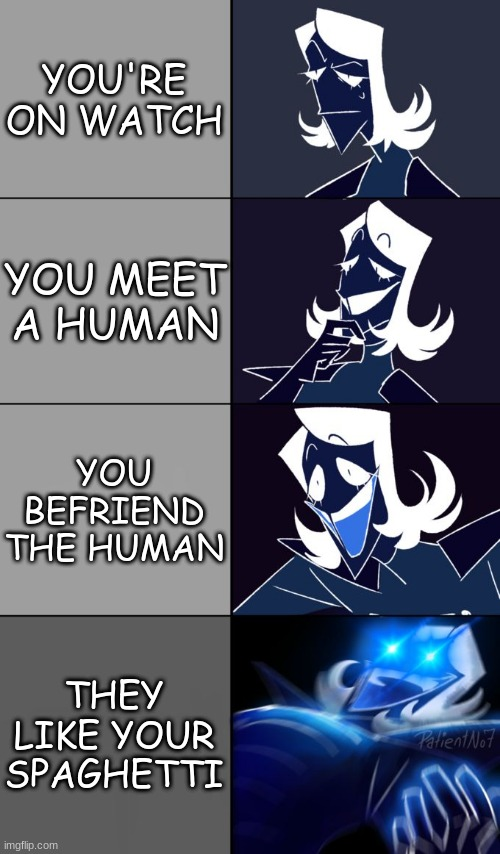 Papyrus is back at it |  YOU'RE ON WATCH; YOU MEET A HUMAN; YOU BEFRIEND THE HUMAN; THEY LIKE YOUR SPAGHETTI | image tagged in rouxls kaard,papyrus,undertale,deltarune,frisk,human | made w/ Imgflip meme maker