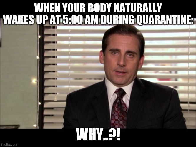 dead inside |  WHEN YOUR BODY NATURALLY WAKES UP AT 5:00 AM DURING QUARANTINE:; WHY..?! | image tagged in dead inside | made w/ Imgflip meme maker