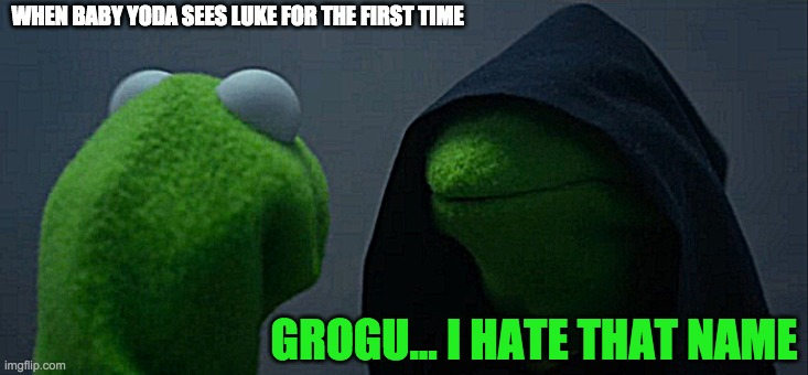 Grogu bad name |  WHEN BABY YODA SEES LUKE FOR THE FIRST TIME; GROGU... I HATE THAT NAME | image tagged in memes,evil kermit | made w/ Imgflip meme maker