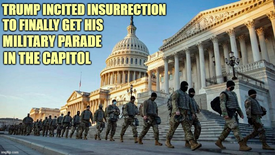 Trump's Military Parade |  TRUMP INCITED INSURRECTION; TO FINALLY GET HIS; MILITARY PARADE; IN THE CAPITOL | image tagged in donald trump you're fired,military parade,capitol,riots,insurrection | made w/ Imgflip meme maker