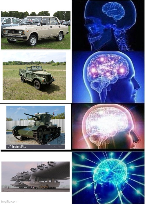 Russian transportation. | image tagged in memes,expanding brain | made w/ Imgflip meme maker