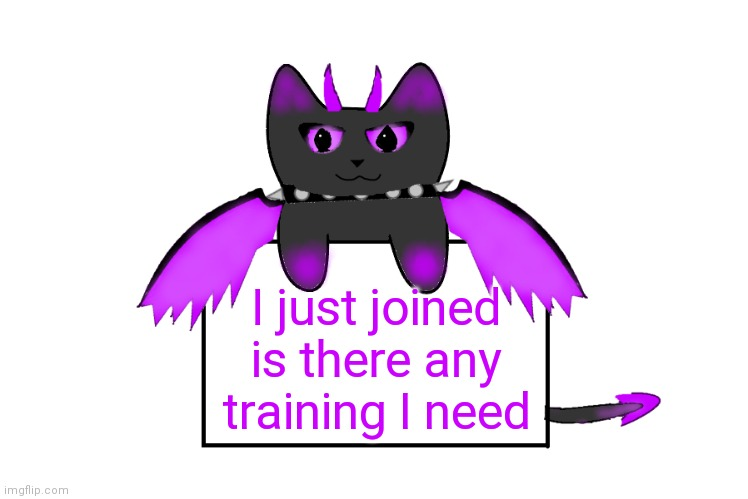 Umbra holding sign |  I just joined is there any training I need | image tagged in umbra holding sign | made w/ Imgflip meme maker