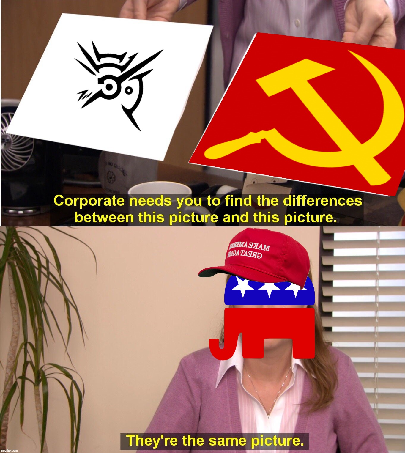 Dishonored symbol is now officially a communist symbol. Thanks to the MAGAtards. | image tagged in memes,politics,communism,republican party,maga,make america great again | made w/ Imgflip meme maker
