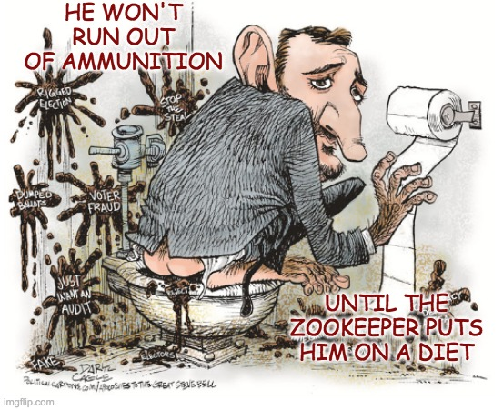 You can always tell when the monkeys want more attention |  HE WON'T RUN OUT OF AMMUNITION; UNTIL THE ZOOKEEPER PUTS HIM ON A DIET | image tagged in ted cruz | made w/ Imgflip meme maker