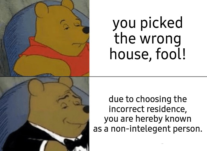 I dont care about the incorrect spelling, please dont judge me. |  you picked the wrong house, fool! due to choosing the incorrect residence, you are hereby known as a non-intelegent person. | image tagged in memes,tuxedo winnie the pooh | made w/ Imgflip meme maker