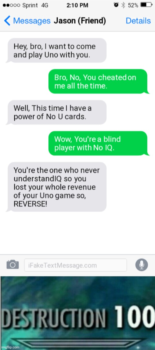 Ha ha ha ha ha! Reverse Power with No U! | image tagged in destruction 100,funny,rekt w/text,oof size large,no u,uno draw 25 cards | made w/ Imgflip meme maker