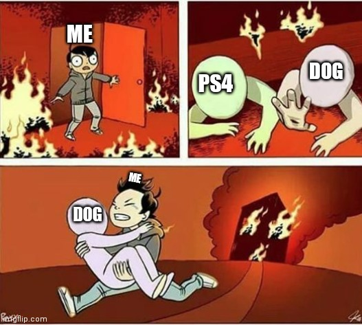You Can Only Save one From Fire |  ME; DOG; PS4; ME; DOG | image tagged in you can only save one from fire | made w/ Imgflip meme maker