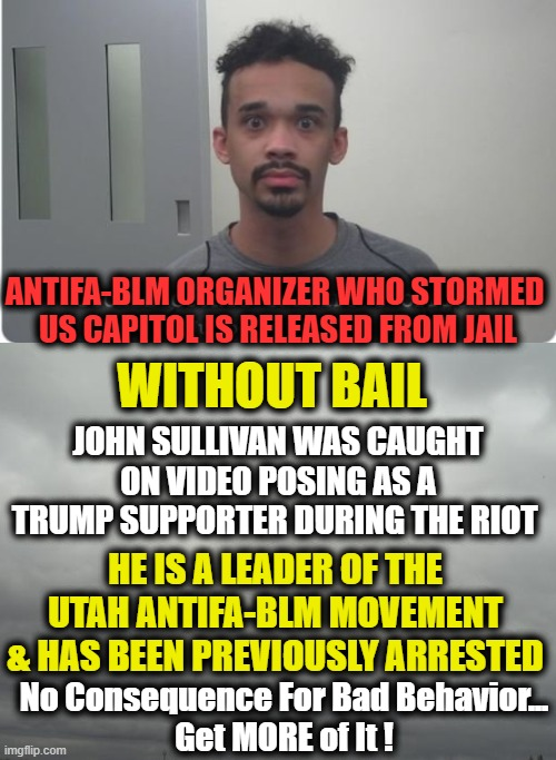 Lack of Consequence Leads to More Criminality |  ANTIFA-BLM ORGANIZER WHO STORMED  US CAPITOL IS RELEASED FROM JAIL; WITHOUT BAIL; JOHN SULLIVAN WAS CAUGHT ON VIDEO POSING AS A TRUMP SUPPORTER DURING THE RIOT; HE IS A LEADER OF THE UTAH ANTIFA-BLM MOVEMENT & HAS BEEN PREVIOUSLY ARRESTED; No Consequence For Bad Behavior... Get MORE of It ! | image tagged in politics,liberalism,democratic socialism,crime,punishment | made w/ Imgflip meme maker