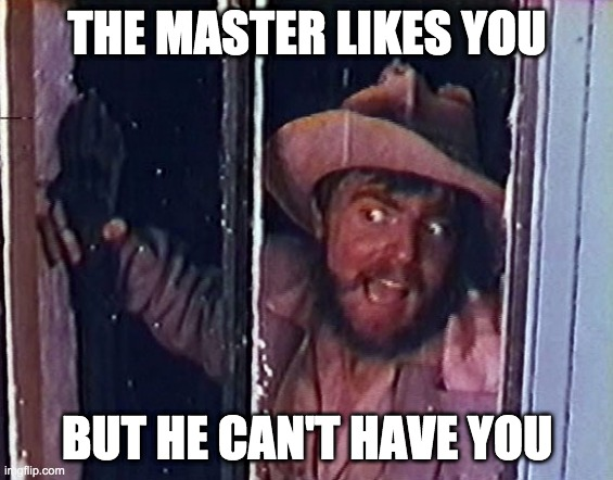 THE MASTER LIKES YOU; BUT HE CAN'T HAVE YOU | image tagged in torgo | made w/ Imgflip meme maker