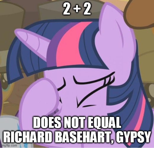 Twilight, after the 100th time she's explained to Gypsy (from MST3K) what 2+2 equals: |  2 + 2; DOES NOT EQUAL RICHARD BASEHART, GYPSY | image tagged in mlp twilight sparkle facehoof,mst3k | made w/ Imgflip meme maker