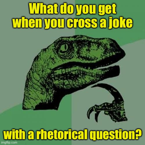 Philosoraptor |  What do you get when you cross a joke; with a rhetorical question? | image tagged in memes,philosoraptor | made w/ Imgflip meme maker
