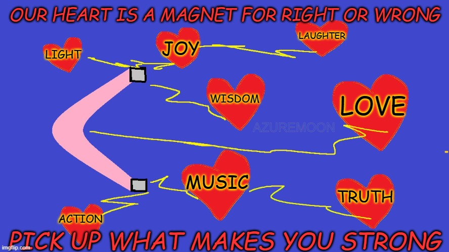 JOY IS WHAT KEEPS THE HEART STRONG |  OUR HEART IS A MAGNET FOR RIGHT OR WRONG; LAUGHTER; JOY; LIGHT; WISDOM; LOVE; AZUREMOON; MUSIC; TRUTH; PICK UP WHAT MAKES YOU STRONG; ACTION | image tagged in wisdom,joy,true love,truth,inspire the people,inspirational memes | made w/ Imgflip meme maker