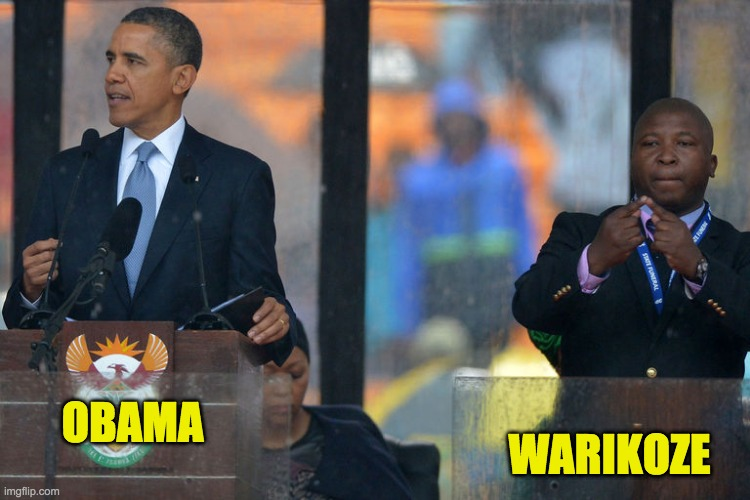 OBAMA WARIKOZE | image tagged in fake president fake sign lang translator | made w/ Imgflip meme maker