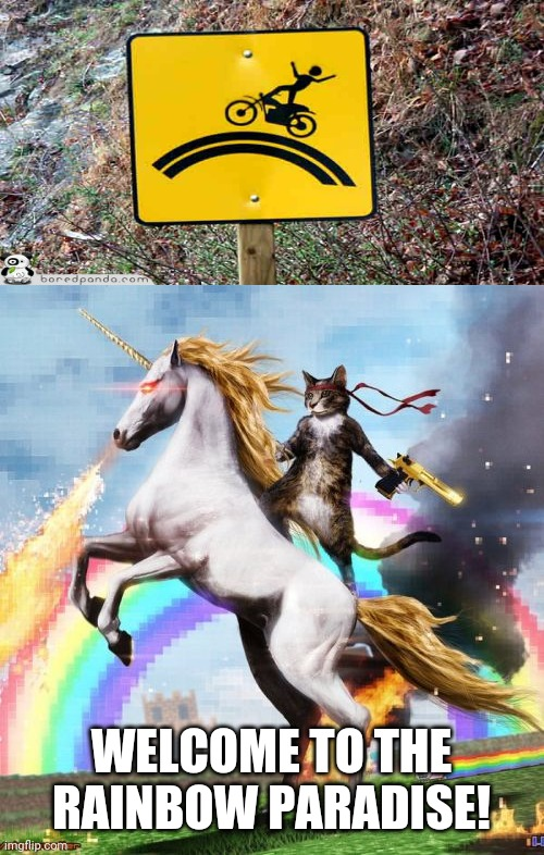 Even if we ride on a Rainbow! |  WELCOME TO THE RAINBOW PARADISE! | image tagged in memes,welcome to the internets,you had one job,funny signs,riding,funny | made w/ Imgflip meme maker
