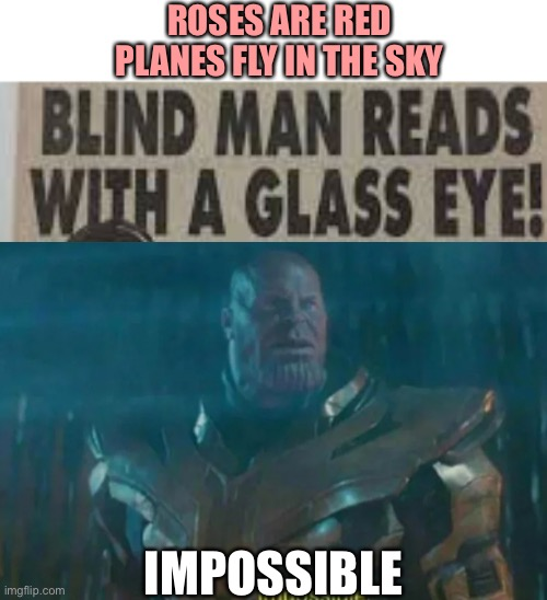 HOW IS THIS POSSIBLE??? |  ROSES ARE RED PLANES FLY IN THE SKY; IMPOSSIBLE | image tagged in memes,captain picard facepalm,thanos impossible,wtf,stupid signs,funny | made w/ Imgflip meme maker