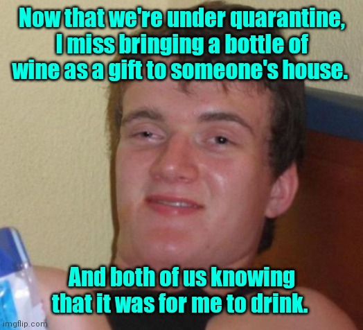 The good old days. |  Now that we're under quarantine, I miss bringing a bottle of wine as a gift to someone's house. And both of us knowing that it was for me to drink. | image tagged in memes,10 guy,funny | made w/ Imgflip meme maker