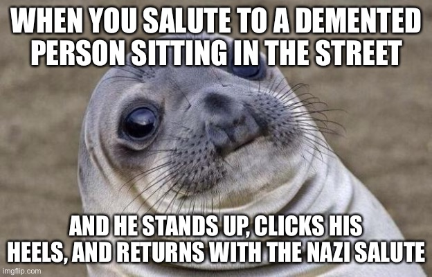He did wat?! |  WHEN YOU SALUTE TO A DEMENTED PERSON SITTING IN THE STREET; AND HE STANDS UP, CLICKS HIS HEELS, AND RETURNS WITH THE NAZI SALUTE | image tagged in memes,awkward moment sealion,nazi,salute,funny | made w/ Imgflip meme maker