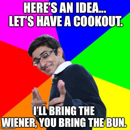Cookout |  HERE'S AN IDEA...  LET'S HAVE A COOKOUT. I'LL BRING THE WIENER, YOU BRING THE BUN. | image tagged in memes,subtle pickup liner | made w/ Imgflip meme maker