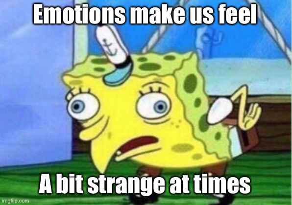 Strange emotions |  Emotions make us feel; A bit strange at times | image tagged in memes,mocking spongebob,emotions,strange | made w/ Imgflip meme maker