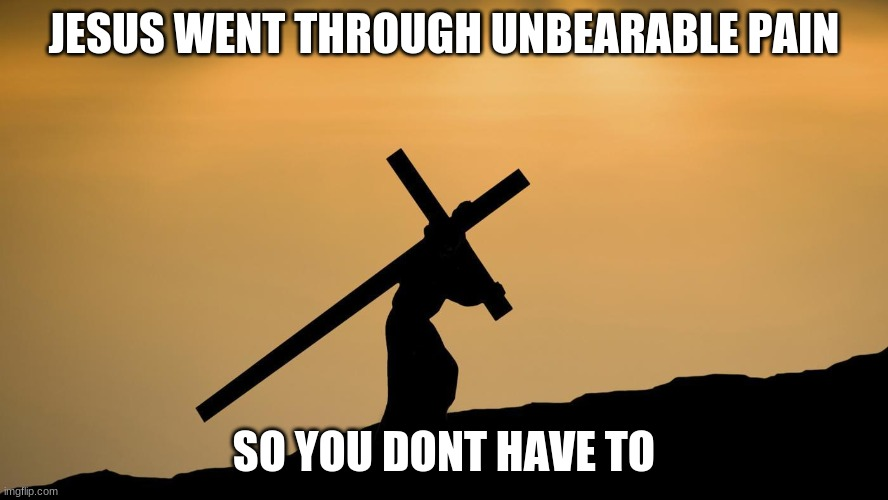 jesus crossfit |  JESUS WENT THROUGH UNBEARABLE PAIN; SO YOU DONT HAVE TO | image tagged in jesus crossfit | made w/ Imgflip meme maker