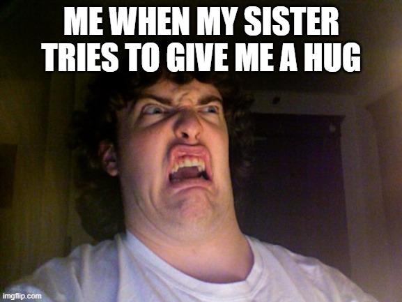 I'm out of Ideas (´。_。`) |  ME WHEN MY SISTER TRIES TO GIVE ME A HUG | image tagged in memes,oh no | made w/ Imgflip meme maker