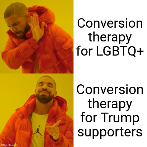 Somehow if Liberals approve it, it's perfectly fine |  Conversion therapy for LGBTQ+; Conversion therapy for Trump supporters | image tagged in memes,drake hotline bling,hypocrisy | made w/ Imgflip meme maker