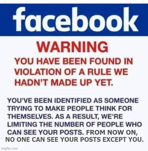 Facebook Warning! |  FROM NOW ON, NO ONE CAN SEE YOUR POSTS EXCEPT YOU. | image tagged in facebook warning memes,facebook jail memes | made w/ Imgflip meme maker