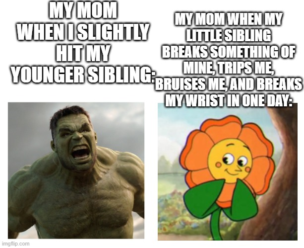 If you are an only child you won't get this |  MY MOM WHEN I SLIGHTLY HIT MY YOUNGER SIBLING:; MY MOM WHEN MY LITTLE SIBLING BREAKS SOMETHING OF MINE, TRIPS ME, BRUISES ME, AND BREAKS MY WRIST IN ONE DAY: | image tagged in hulk angry then realizes he's wrong | made w/ Imgflip meme maker
