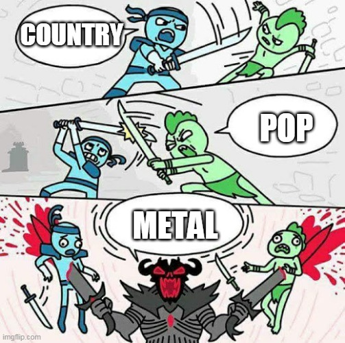 The Best |  COUNTRY; POP; METAL | image tagged in sword fight,metal,country,pop,heavy metal,music | made w/ Imgflip meme maker