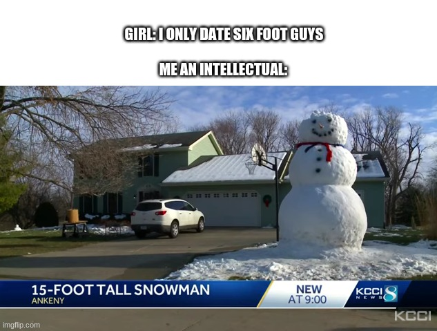 BIG brain |  GIRL: I ONLY DATE SIX FOOT GUYS; ME AN INTELLECTUAL: | image tagged in snow,memes | made w/ Imgflip meme maker