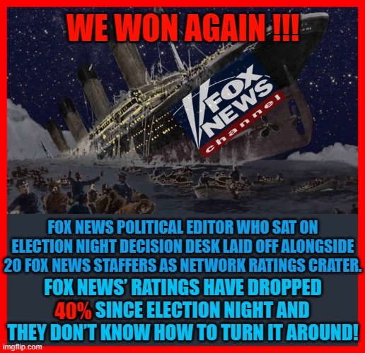 WE WON AGAIN !!! FOX NEWS POLITICAL EDITOR WHO SAT ON ELECTION NIGHT DECISION DESK LAID OFF ALONGSIDE 20 FOX NEWS STAFFERS AS NETWORK RATINGS CRATER. FOX NEWS' RATINGS HAVE DROPPED 40% SINCE ELECTION NIGHT AND THEY DON'T KNOW HOW TO TURN IT AROUND! 40% | made w/ Imgflip meme maker