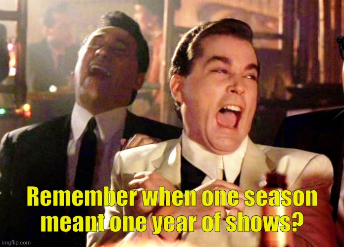 Good Fellas Hilarious |  Remember when one season meant one year of shows? | image tagged in memes,good fellas hilarious | made w/ Imgflip meme maker