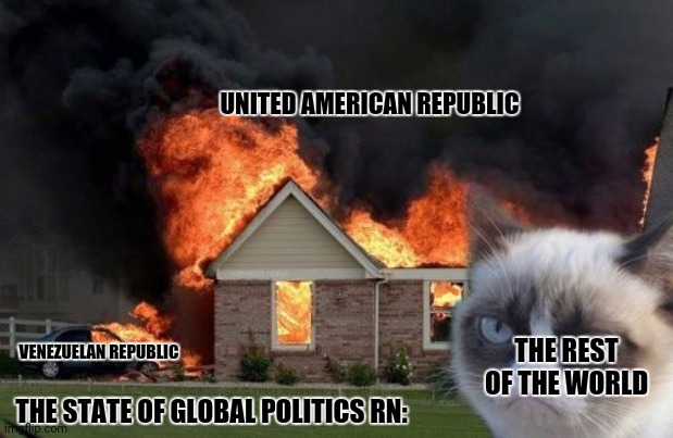 Burn Kitty Meme |  UNITED AMERICAN REPUBLIC; THE REST OF THE WORLD; VENEZUELAN REPUBLIC; THE STATE OF GLOBAL POLITICS RN: | image tagged in memes,burn kitty,politics suck | made w/ Imgflip meme maker