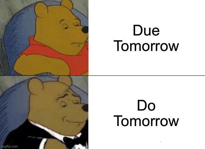 Nah m8 not today |  Due Tomorrow; Do Tomorrow | image tagged in memes,tuxedo winnie the pooh | made w/ Imgflip meme maker