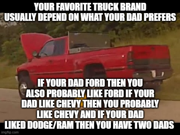 dodge sucks |  YOUR FAVORITE TRUCK BRAND USUALLY DEPEND ON WHAT YOUR DAD PREFERS; IF YOUR DAD FORD THEN YOU ALSO PROBABLY LIKE FORD IF YOUR DAD LIKE CHEVY THEN YOU PROBABLY LIKE CHEVY AND IF YOUR DAD LIKED DODGE/RAM THEN YOU HAVE TWO DADS | image tagged in dodge,sucks | made w/ Imgflip meme maker