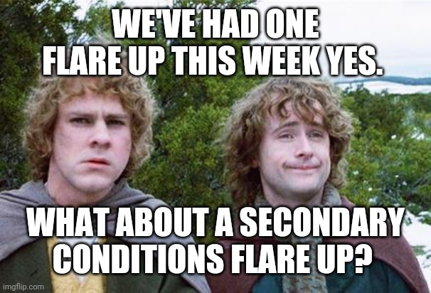 Chronic illness life |  WE'VE HAD ONE FLARE UP THIS WEEK YES. WHAT ABOUT A SECONDARY CONDITIONS FLARE UP? | image tagged in second breakfast | made w/ Imgflip meme maker
