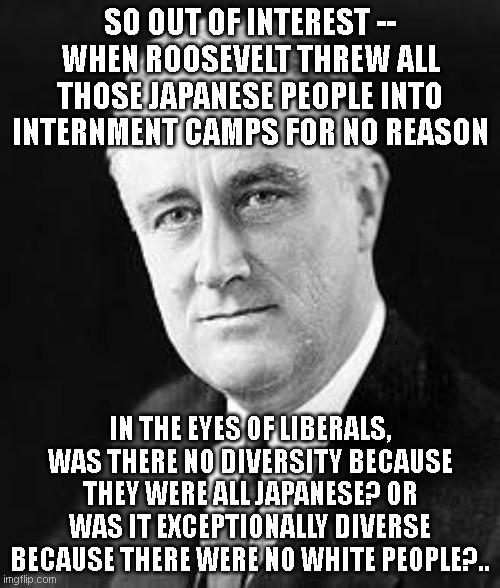 Franklin D. Roosevelt |  SO OUT OF INTEREST -- WHEN ROOSEVELT THREW ALL THOSE JAPANESE PEOPLE INTO INTERNMENT CAMPS FOR NO REASON; IN THE EYES OF LIBERALS, WAS THERE NO DIVERSITY BECAUSE THEY WERE ALL JAPANESE? OR WAS IT EXCEPTIONALLY DIVERSE BECAUSE THERE WERE NO WHITE PEOPLE?.. | image tagged in franklin d roosevelt | made w/ Imgflip meme maker