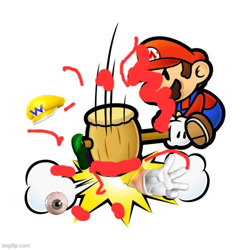 Wario dies after getting brutally smashed by Mario's hammer.mp3 | image tagged in memes,mario hammer smash,wario dies | made w/ Imgflip meme maker