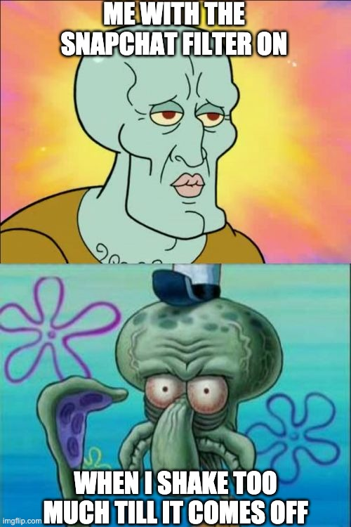 Squidward |  ME WITH THE SNAPCHAT FILTER ON; WHEN I SHAKE TOO MUCH TILL IT COMES OFF | image tagged in memes,squidward,snapchat,ugly,handsome squidward | made w/ Imgflip meme maker