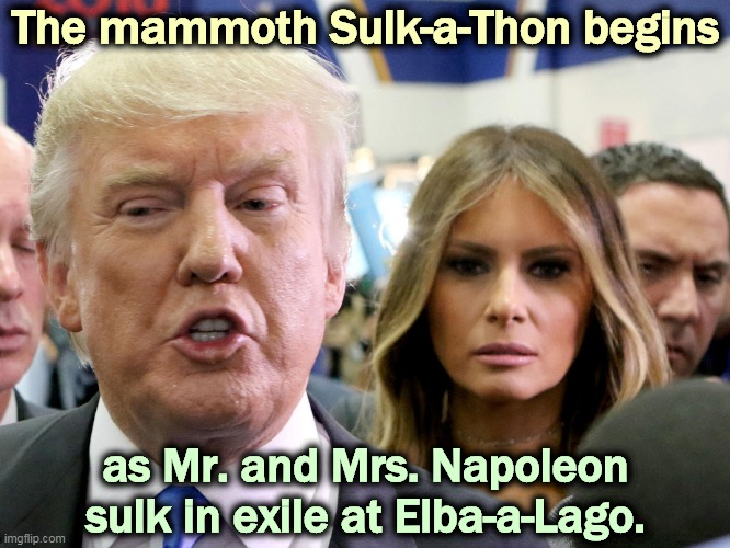 Yeah, Napoleon came back briefly, failed again spectacularly, and got transferred to St. Helena. |  The mammoth Sulk-a-Thon begins; as Mr. and Mrs. Napoleon sulk in exile at Elba-a-Lago. | image tagged in donald and melania trump sulk in exile,trump,napoleon,donald trump sulk | made w/ Imgflip meme maker
