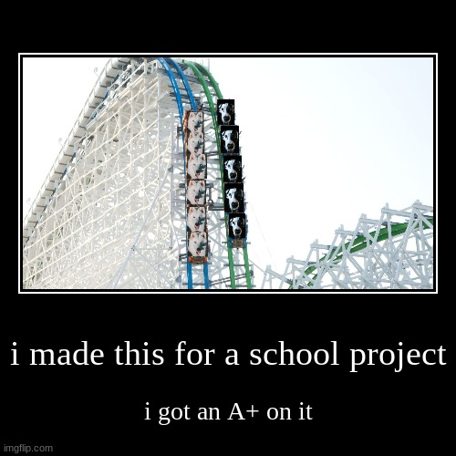 i made this for a school project | i got an A+ on it | image tagged in funny,demotivationals | made w/ Imgflip demotivational maker