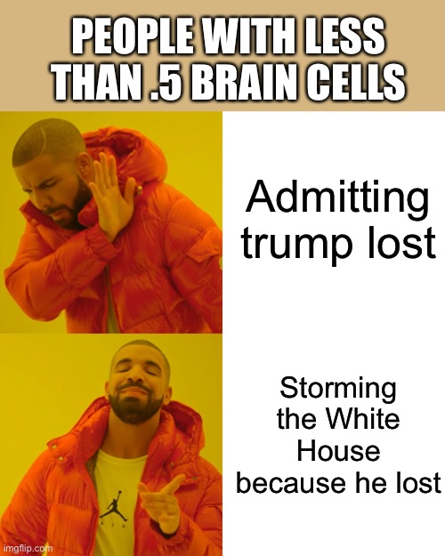 Drake Hotline Bling |  PEOPLE WITH LESS THAN .5 BRAIN CELLS; Admitting  trump lost; Storming the White House because he lost | image tagged in memes,drake hotline bling | made w/ Imgflip meme maker
