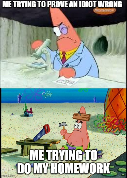 PAtrick, Smart Dumb |  ME TRYING TO PROVE AN IDIOT WRONG; ME TRYING TO DO MY HOMEWORK | image tagged in patrick smart dumb | made w/ Imgflip meme maker
