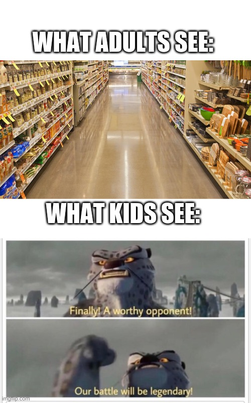 If you did this as a kid you had a good childhood. |  WHAT ADULTS SEE:; WHAT KIDS SEE: | image tagged in blank white template,finally a worthy opponent,light,race,supermarket | made w/ Imgflip meme maker