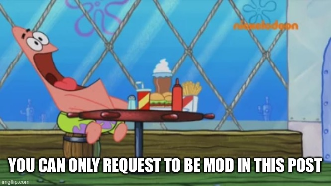 Patrick Star |  YOU CAN ONLY REQUEST TO BE MOD IN THIS POST | image tagged in patrick star | made w/ Imgflip meme maker