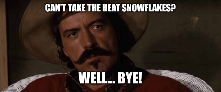 well bye | CAN'T TAKE THE HEAT SNOWFLAKES? WELL... BYE! | image tagged in well bye | made w/ Imgflip meme maker