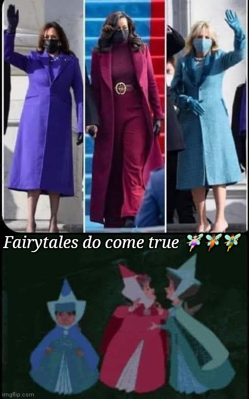 Kamala Michelle & Jill |  Fairytales do come true 🧚🏻‍♀️🧚🏾🧚‍♂️ | image tagged in kamala harris,michelle obama,jill biden,good witches,good fairies,biden inauguration | made w/ Imgflip meme maker